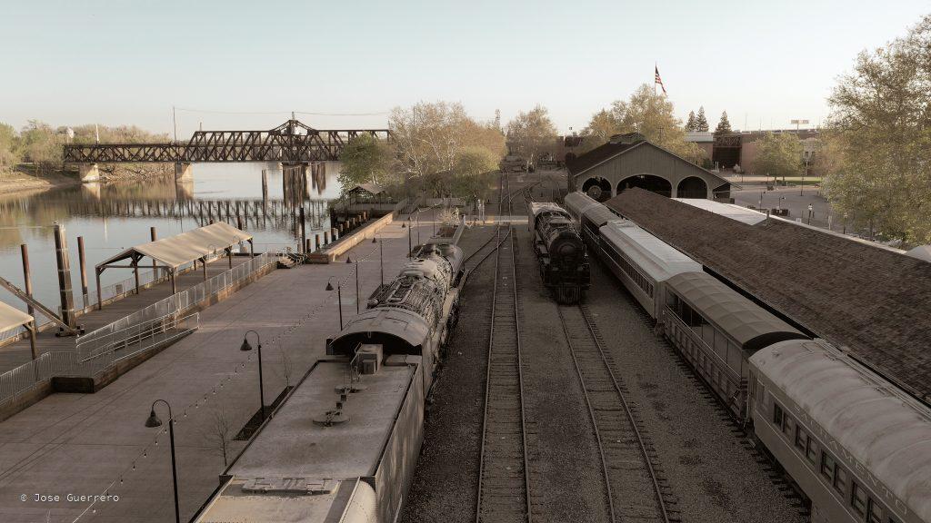 Photo of a railyard.