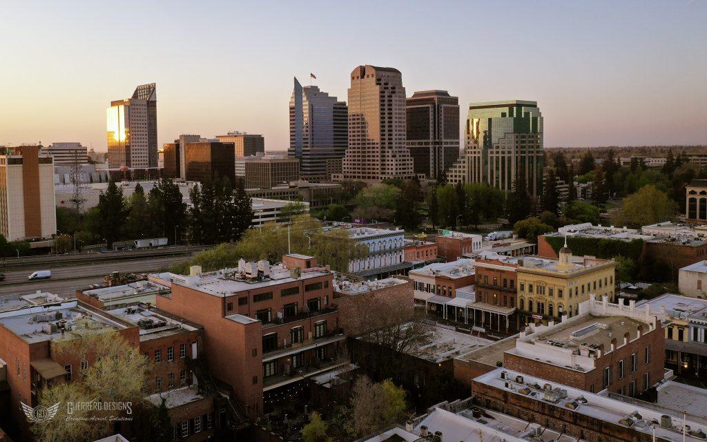 Photo of downtown Sacramento during sunrise.